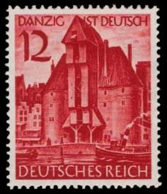 12 Pf Briefmarke: Wiedereingliederung von Danzig ins Deutsche Reich