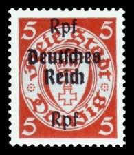 (5) Rpf auf 5 Pf Briefmarke: Freimarkenserie, Danzig mit Aufdruck