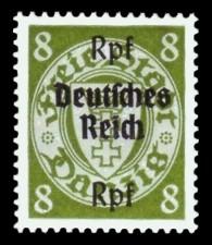 (8) Rpf auf 8 Pf Briefmarke: Freimarkenserie, Danzig mit Aufdruck