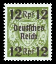 12 Rpf auf 7 Pf Briefmarke: Freimarkenserie, Danzig mit Aufdruck