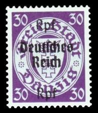 (30) Rpf auf 30 Pf Briefmarke: Freimarkenserie, Danzig mit Aufdruck