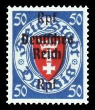 (50) Rpf auf 50 Pf Briefmarke: Freimarkenserie, Danzig mit Aufdruck
