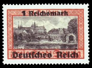 1 RM auf 1 G Briefmarke: Freimarkenserie, Danzig mit Aufdruck
