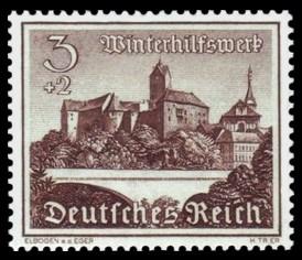 3 + 2 Pf Briefmarke: Winterhilfswerk, Bauwerke, Burg Elbogen an der Eger