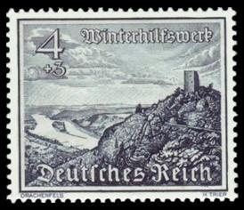 4 + 3 Pf Briefmarke: Winterhilfswerk, Bauwerke, Drachenfels am Rhein