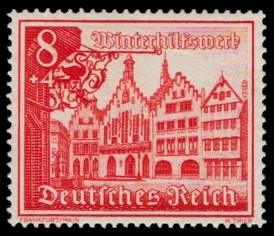 8 + 4 Pf Briefmarke: Winterhilfswerk, Bauwerke, Römer Frankfurt a. M.