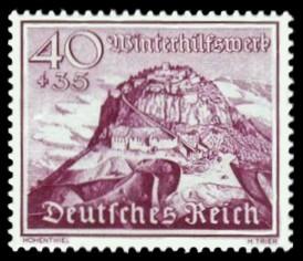 40 + 35 Pf Briefmarke: Winterhilfswerk, Bauwerke, Hohentwiel