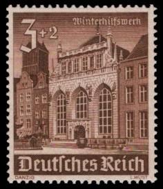 3 + 2 Pf Briefmarke: Winterhilfswerk, Bauwerke, Artushof Danzig