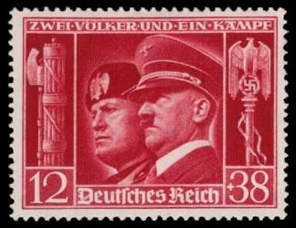 12 + 38 Pf Briefmarke: Deutsch-Italienische Waffenbrüderschaft