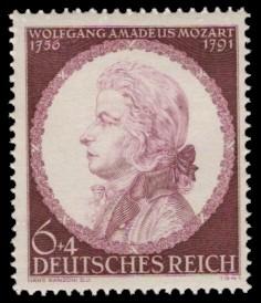 6 + 4 Pf Briefmarke: 150. Todestag Wolfgang Amadeus Mozart