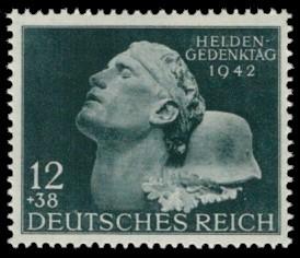 12 + 38 Pf Briefmarke: Heldengedenktag 15. März 1942