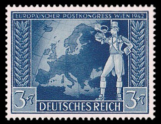 3 + 7 Pf Briefmarke: Europäischer Postkongreß Wien 1942