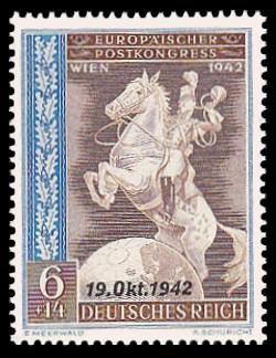 6 + 14 Pf Briefmarke: Europäischer Postkongreß Wien 1942