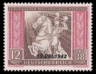 12 + 38 Pf Briefmarke: Europäischer Postkongreß Wien 1942