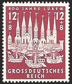 12 + 8 Pf Briefmarke: 800 Jahre Lübeck