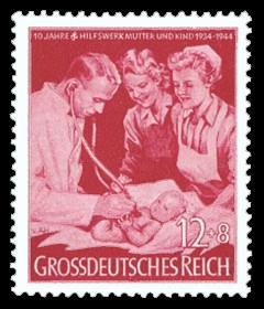 12 + 8 Pf Briefmarke: 10 Jahre Hilfswerk Mutter und Kind