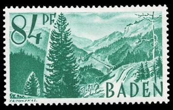 84 Rpf Briefmarke: Persönlichkeiten und Ansichten aus Baden I, Höllental