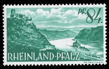84 Rpf Briefmarke: Persönlichkeiten und Ansichten aus Rheinland-Pfalz I, Rhein bei Kaub