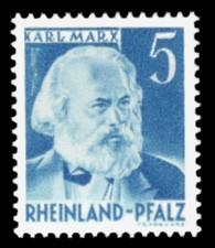 5 Pf Briefmarke: Persönlichkeiten und Ansichten aus Rheinland-Pfalz III, Karl Marx