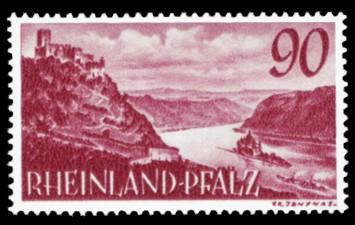 90 Pf Briefmarke: Persönlichkeiten und Ansichten aus Rheinland-Pfalz III, Rhein bei Kaub