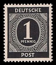 1 Pf Briefmarke: Freimarken I. Kontrollratsausgabe Ziffern, Ziffer 1 Pf
