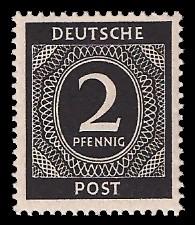 2 Pf Briefmarke: Freimarken I. Kontrollratsausgabe Ziffern, Ziffer 2 Pf