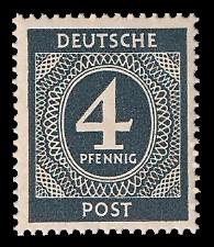 4 Pf Briefmarke: Freimarken I. Kontrollratsausgabe Ziffern, Ziffer 4 Pf