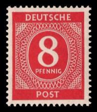 8 Pf Briefmarke: Freimarken I. Kontrollratsausgabe Ziffern, Ziffer 8 Pf