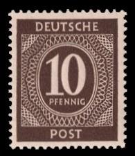 10 Pf Briefmarke: Freimarken I. Kontrollratsausgabe Ziffern, Ziffer 10 Pf