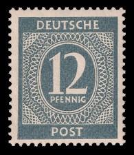 12 Pf Briefmarke: Freimarken I. Kontrollratsausgabe Ziffern, Ziffer 12 Pf
