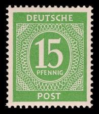 15 Pf Briefmarke: Freimarken I. Kontrollratsausgabe Ziffern, Ziffer 15 Pf