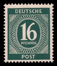 16 Pf Briefmarke: Freimarken I. Kontrollratsausgabe Ziffern, Ziffer 16 Pf