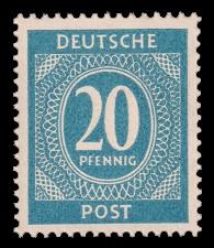20 Pf Briefmarke: Freimarken I. Kontrollratsausgabe Ziffern, Ziffer 20 Pf