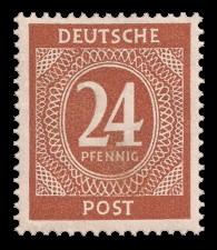 24 Pf Briefmarke: Freimarken I. Kontrollratsausgabe Ziffern, Ziffer 24 Pf