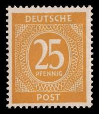 25 Pf Briefmarke: Freimarken I. Kontrollratsausgabe Ziffern, Ziffer 25 Pf
