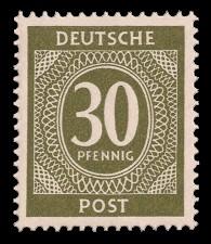 30 Pf Briefmarke: Freimarken I. Kontrollratsausgabe Ziffern, Ziffer 30 Pf