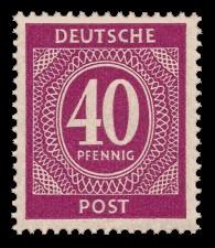 40 Pf Briefmarke: Freimarken I. Kontrollratsausgabe Ziffern, Ziffer 40 Pf