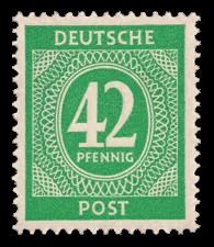 42 Pf Briefmarke: Freimarken I. Kontrollratsausgabe Ziffern, Ziffer 42 Pf