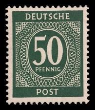 50 Pf Briefmarke: Freimarken I. Kontrollratsausgabe Ziffern, Ziffer 50 Pf