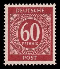 60 Pf Briefmarke: Freimarken I. Kontrollratsausgabe Ziffern, Ziffer 60 Pf