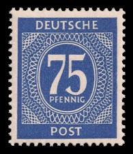 75 Pf Briefmarke: Freimarken I. Kontrollratsausgabe Ziffern, Ziffer 75 Pf