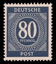 80 Pf Briefmarke: Freimarken I. Kontrollratsausgabe Ziffern, Ziffer 80 Pf