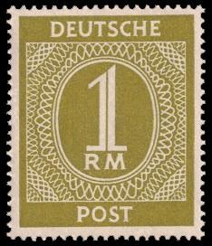 1 RM Briefmarke: Freimarken I. Kontrollratsausgabe Ziffern, Ziffer 1 RM