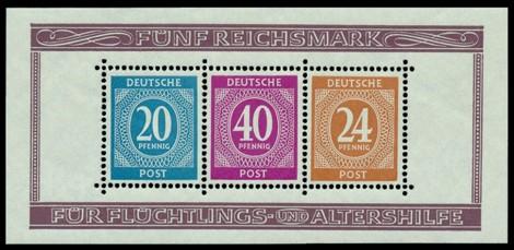 5 RM Briefmarke: Block gezähnt: Briefmarkenausstellung Berlin 1946