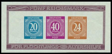 5 RM Briefmarke: Block geschnitten: Briefmarkenausstellung Berlin 1946