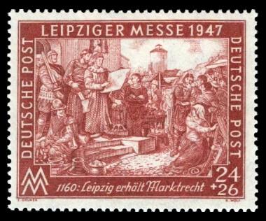 24 + 26 Pf Briefmarke: Leipziger Frühjahrsmesse 1947