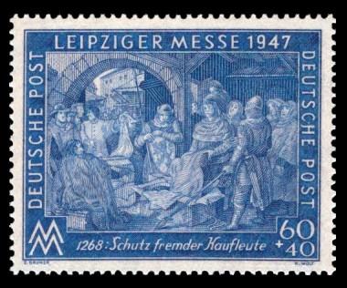 60 + 40 Pf Briefmarke: Leipziger Frühjahrsmesse 1947