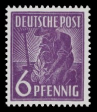 6 Pf Briefmarke: Freimarken II. Kontrollratsausgabe, Pflanzer