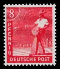 8 Pf Briefmarke: Freimarken II. Kontrollratsausgabe, Sämann
