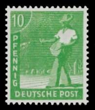 10 Pf Briefmarke: Freimarken II. Kontrollratsausgabe, Sämann